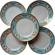 Dessert Plates Set 5 Nippon Blue Pink Gold China Hand Painted China Vintage