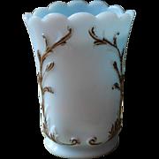 Antique Blue Milk Glass Vase Tall Sugar Bowl Base