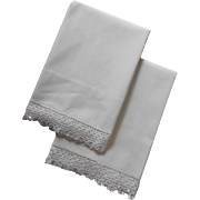 Pillowcases Vintage All White Cotton Crocheted Lace Pair One TLC