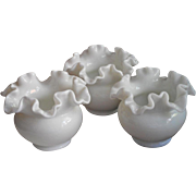 Fenton Rose Bowl Bowls Milk Glass Ruffled Crimped Rim