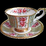 Paragon Roses Gold Paneled Cup Saucer Bone China Vintage