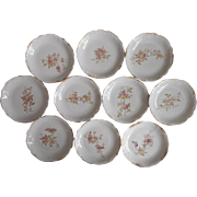 Butter Pats Pink Roses Antique China Set of 10