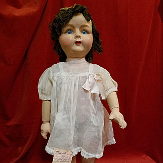 Vintage French Paper Mache Doll in Original Clothes
