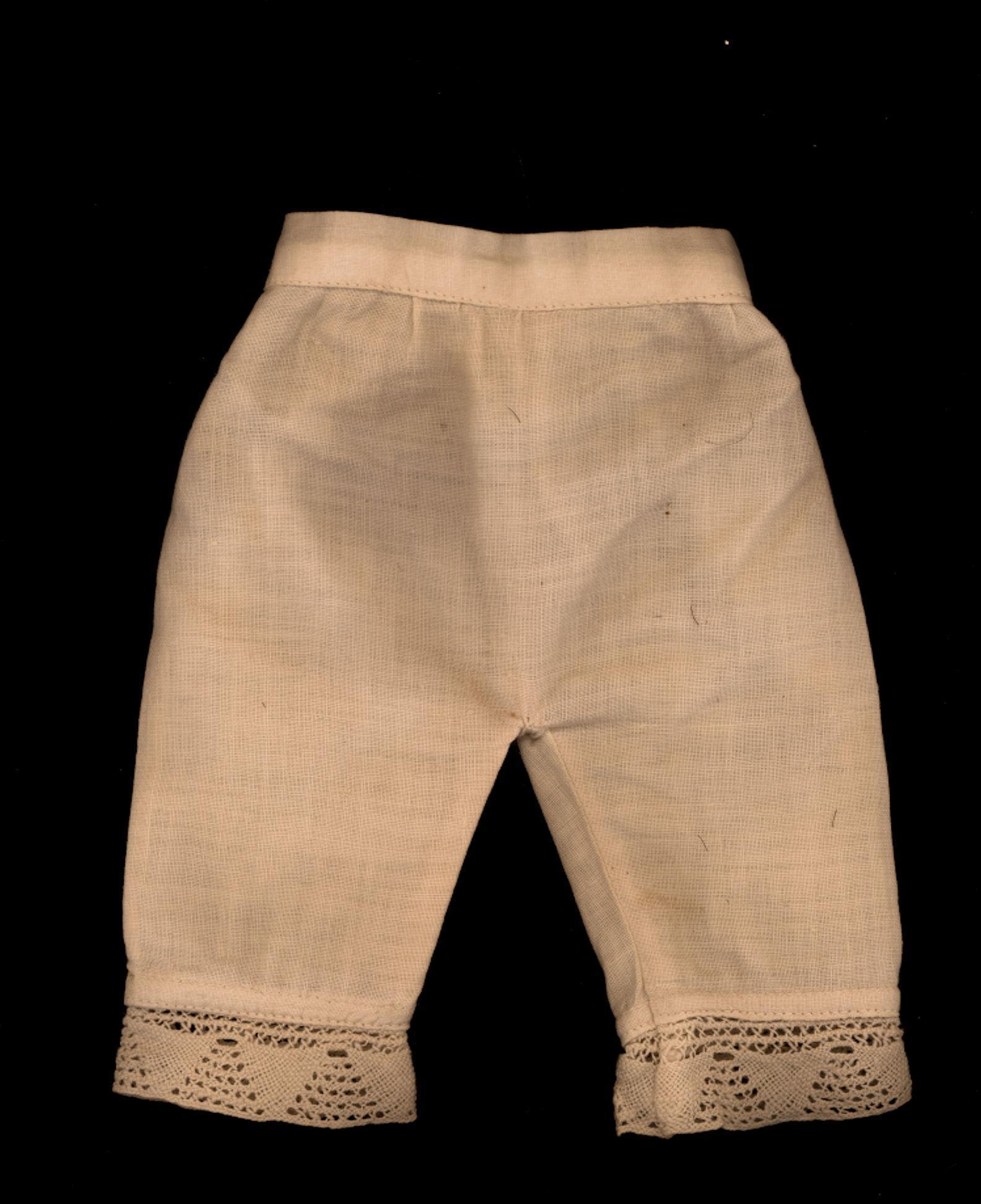 Antique Cream Cotton Doll Pantaloons with Crochet Trim