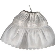Antique White Cotton Doll Slip with a Scalloped Edge