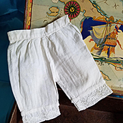 Antique White Cotton Doll Pantaloons with Embroidered Edge