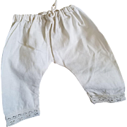 Antique White Cotton Doll Pantaloons with Drawstring Waist