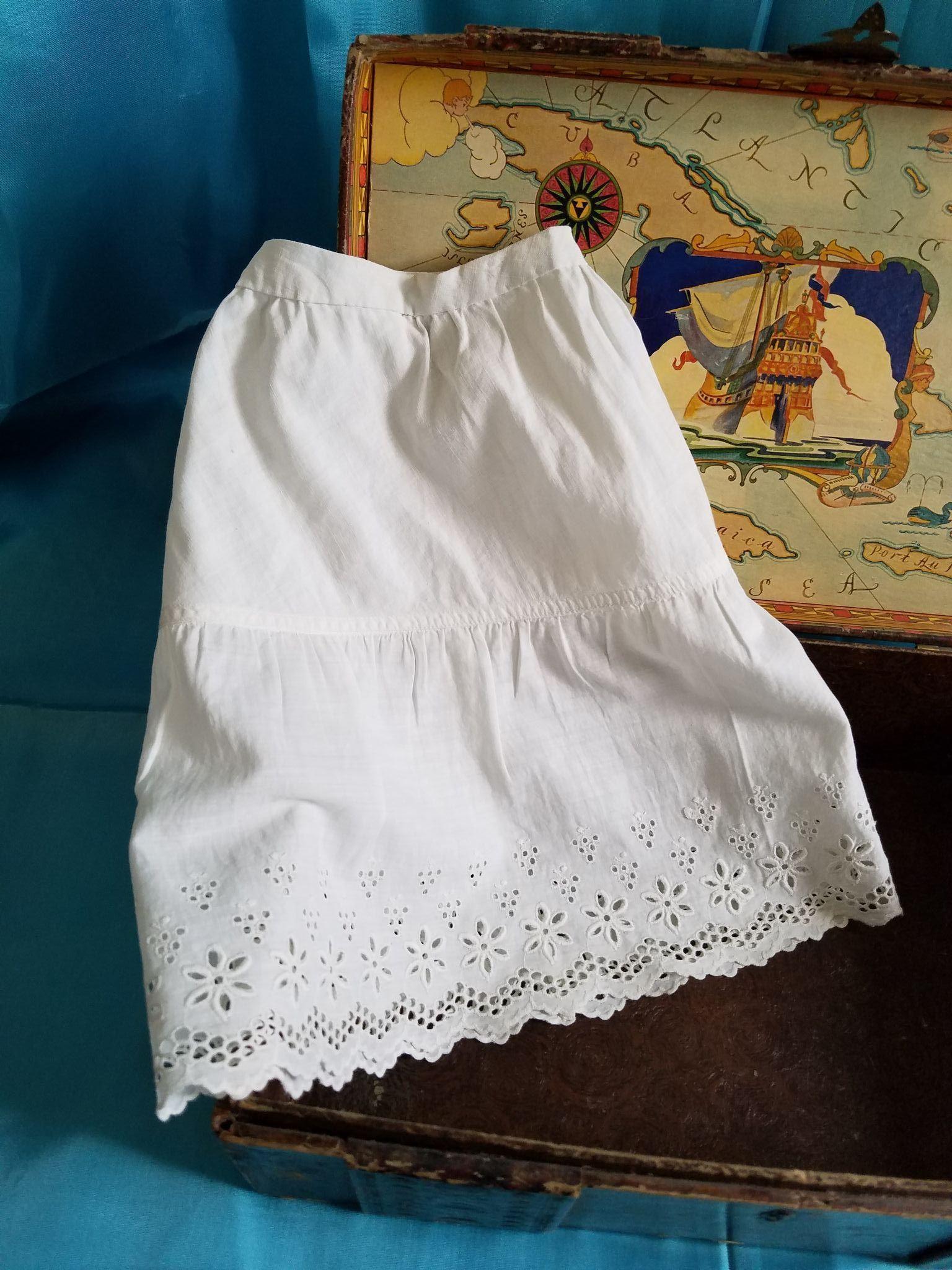 Antique White Cotton Doll Slip with Eyelet Edge
