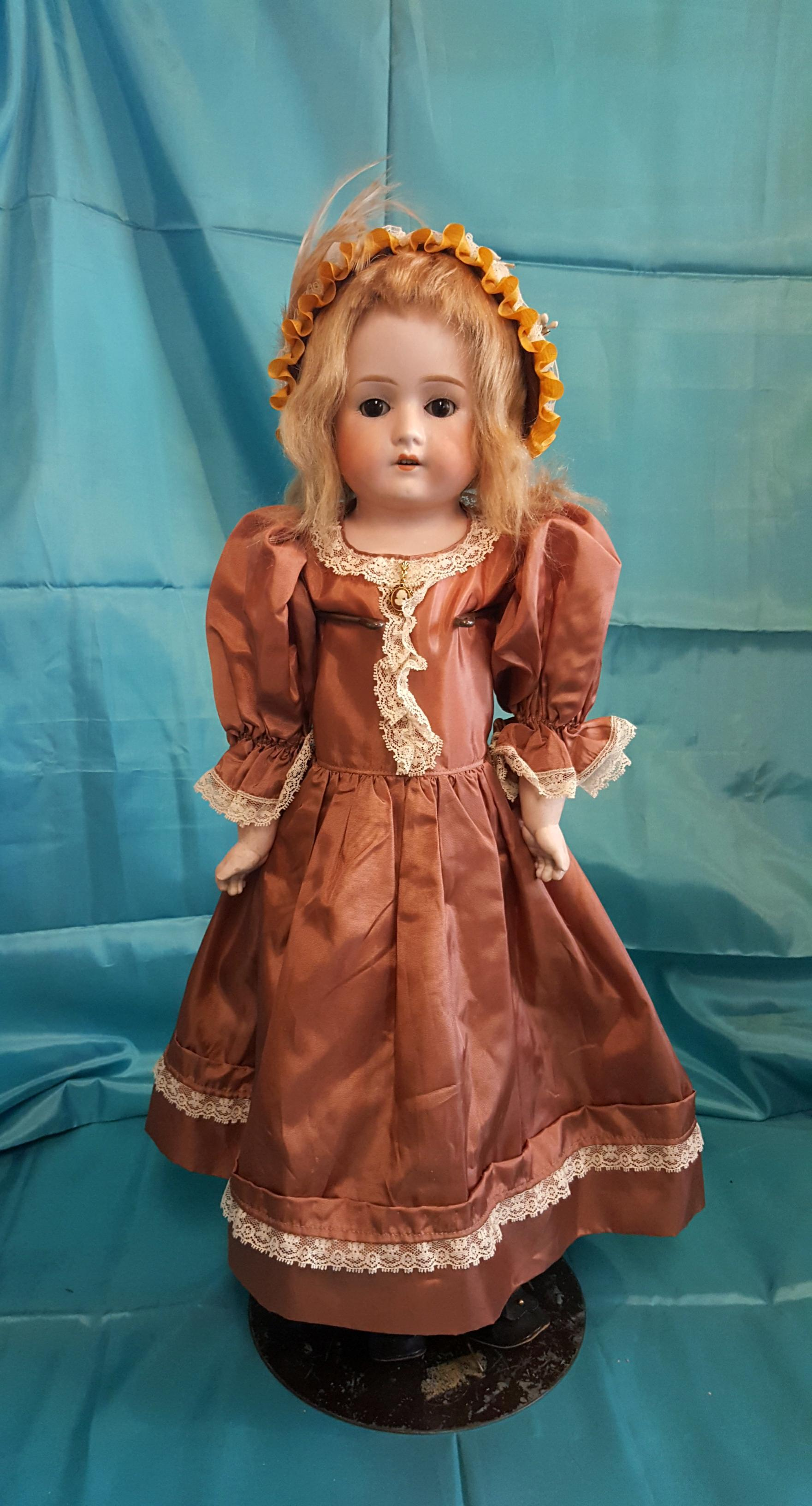 Antique Bisque Armand Marseille Mabel in Vintage Taffeta Dress