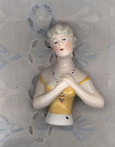 "2 3/4"" Vintage China Pincushion Doll with Yellow Bodice"