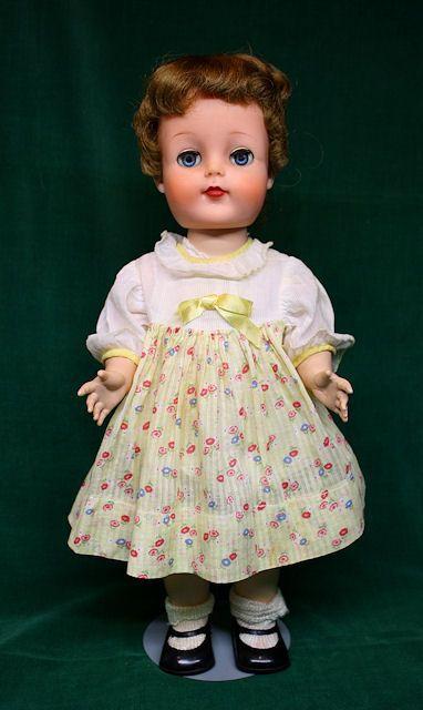 Vintage  Yellow Cotton Print  Doll Dress