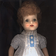 Vintage Factory Made Doll Dress in Blue and White Print