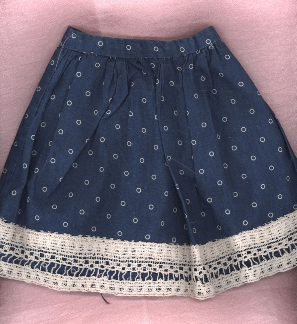 Antique Blue Cotton Print Doll Skirt
