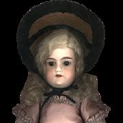 Antique Straw with Velvet Doll Bonnet