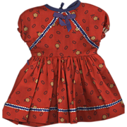 Vintage Red Cotton Print Doll Dress