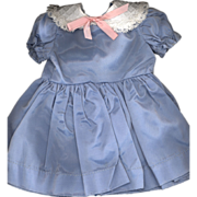 Vintage Blue Taffeta Doll Dress