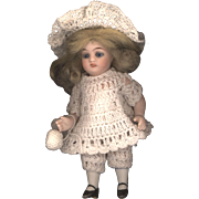 Antique All Bisque Girl with Glass Sleep Eyes