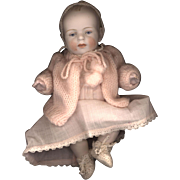 Antique All Bisque Character Baby with Brush Stroke Hair