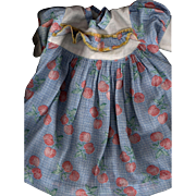 Vintage Cotton Print Doll Dress with Matching Bonnet for a Composition Baby Doll