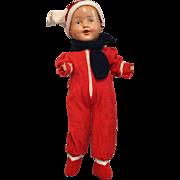 Composition Boy in Fleece Snowsuit