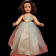 Hard Plastic Vogue Girl  in A  Vintage Net Formal Dress
