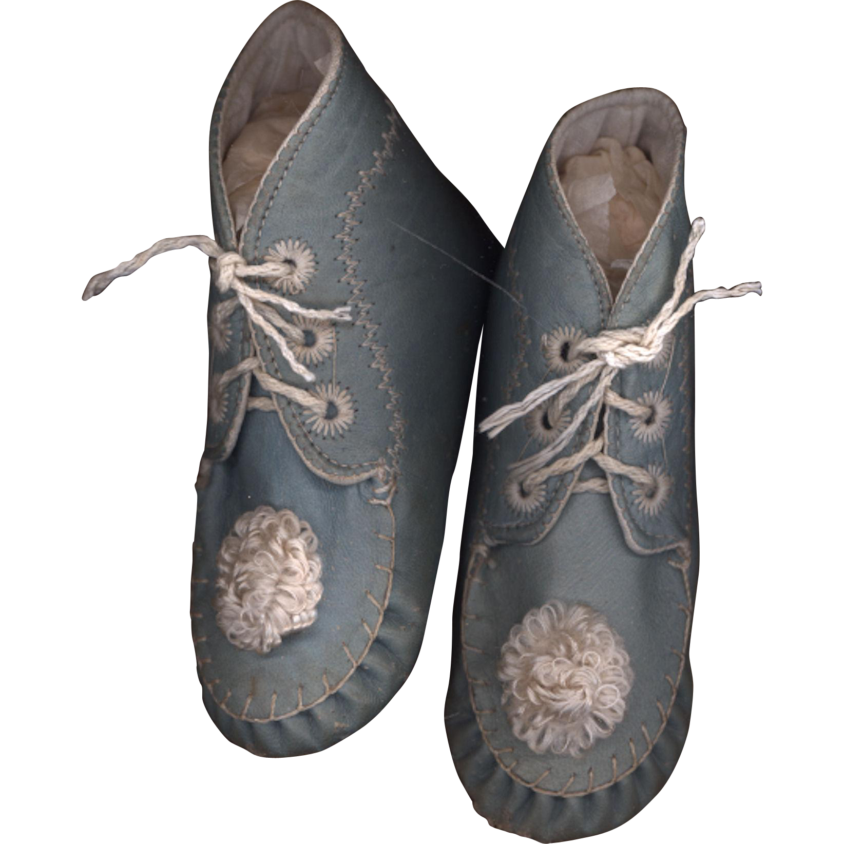 antique blue leather baby shoes from rubylane sold on ruby