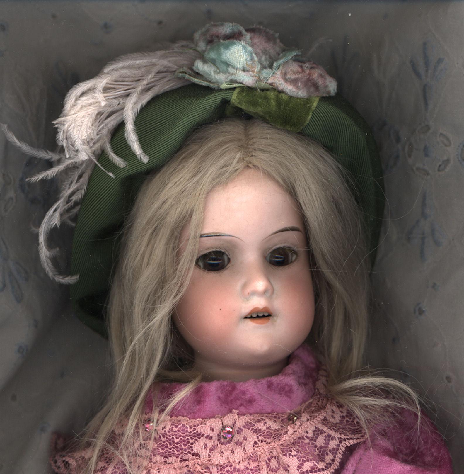 Vintage Green Velvet Doll Hat