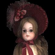 Vintage French Style Bonnet in Cranberry Velvet