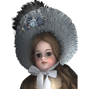 Vintage French Style Doll Bonnet in Blue Taffeta