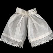 Antique White Cotton Doll Pantaloons with Eyelet Edge