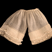 Antique Ecru Cotton Doll Pantaloons with a Drawstring Waist