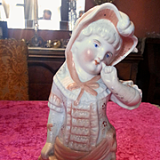 Victorian Bisque Girl Figurine in Peach Dress