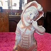 Victorian Bisque Girl Figurine in Peach Dress