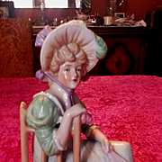 Antique Victorian Gebruder Heubach Porcelain Lady Sitting in Chair
