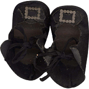 Vintage Black Leatherette Doll Shoes