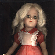 Vintage Red and White Organdy Doll Dress