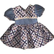 Vintage Blue Plaid Doll Dress