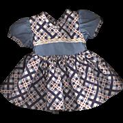 Vintage Blue Plaid Doll Dress