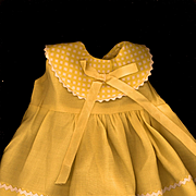 Vintage Yellow Rayon Doll Dress