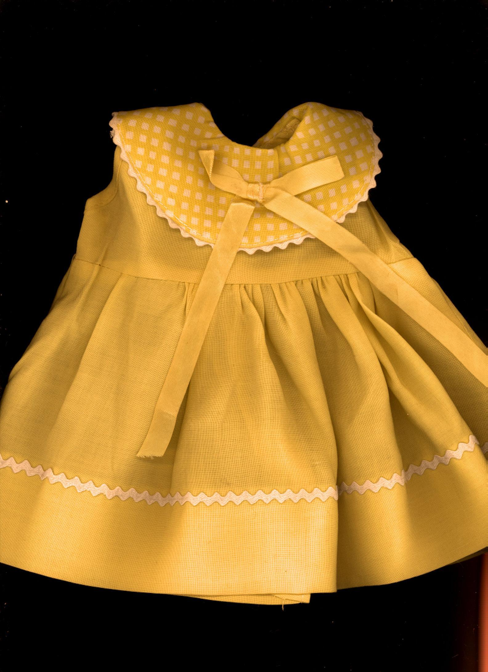 Vintage Yellow Rayon Doll Dress from micheledolls on Ruby Lane