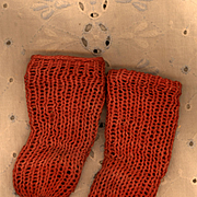 Vintage Red Cotton Doll Stockings