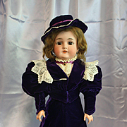 Antique Bisque Armand Marseille  Queen Louise  in Vintage Purple Velvet