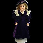Antique Bisque Armand Marseille  Queen Louise  in Vintage Purple Velvet