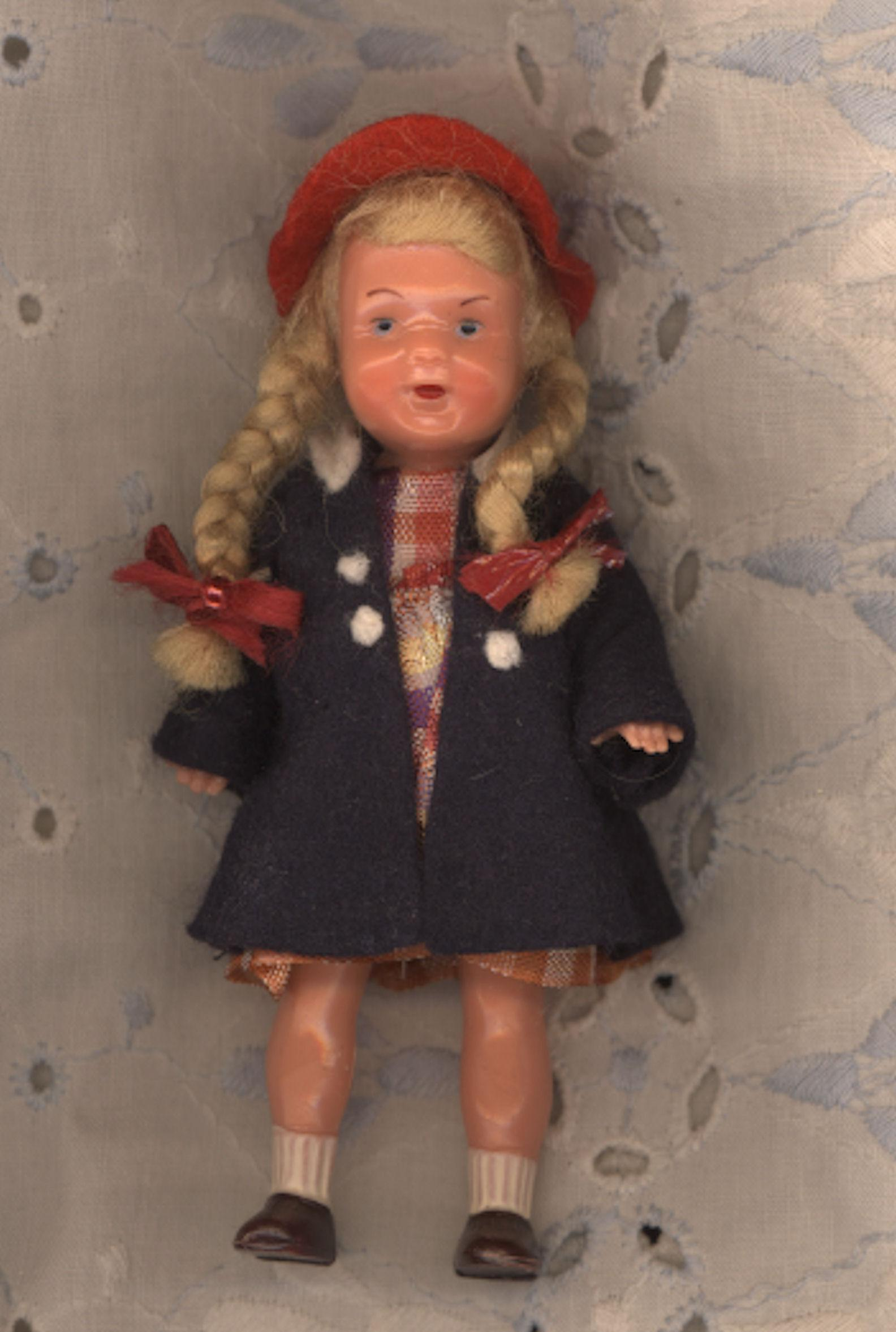 Vintage German Hard Plastic Dollhouse Doll in Original Clothes