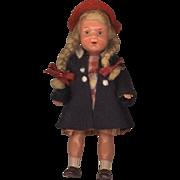 Vintage German Hard Plastic Dollhouse Doll in Original Clothes