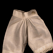 Antique White Cotton Doll Pantaloons with Crochet Lace