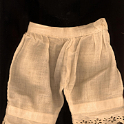 Antique Doll Pantaloons in Eggshell Cotton