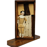Antique Miniature China Head Doll in Old Wooden Box with Material and Trim