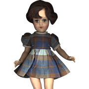 Vintage Brown and Blue Plaid Doll Dress