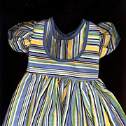 Vintage Blue Yellow and Green Stripe Doll Dress.